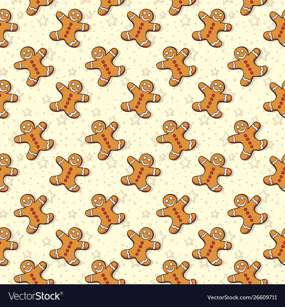 Christmas gingerbread man seamless pattern xmas