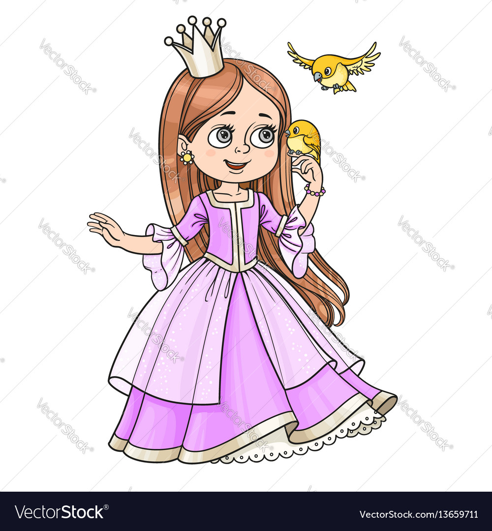 Cute princess with long hair holds on finger