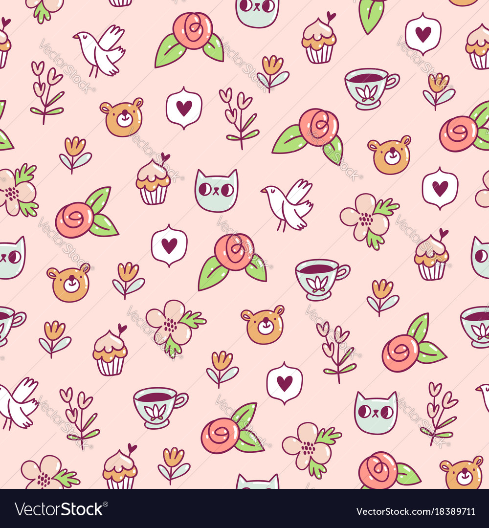 Doodle bear cat and a bird pattern vector image