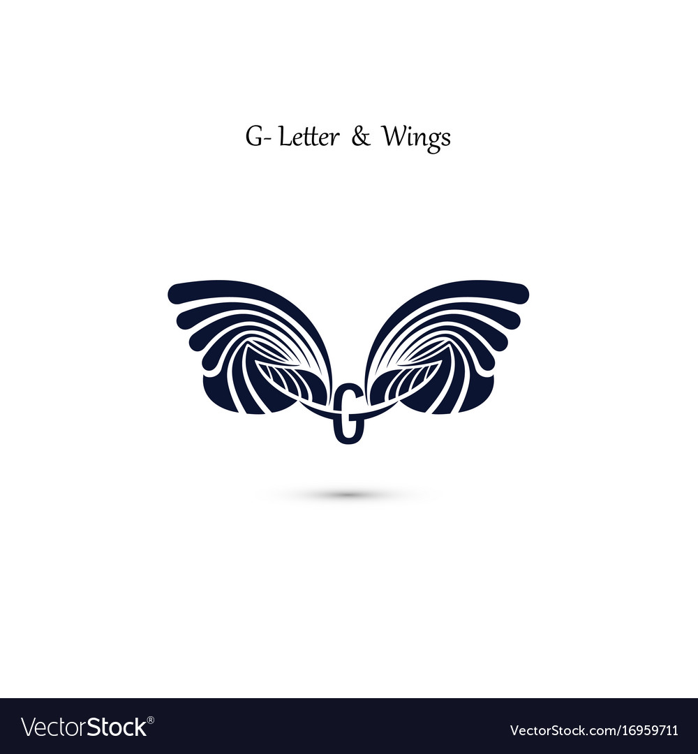 G letter sign and angel wings monogram wing logo