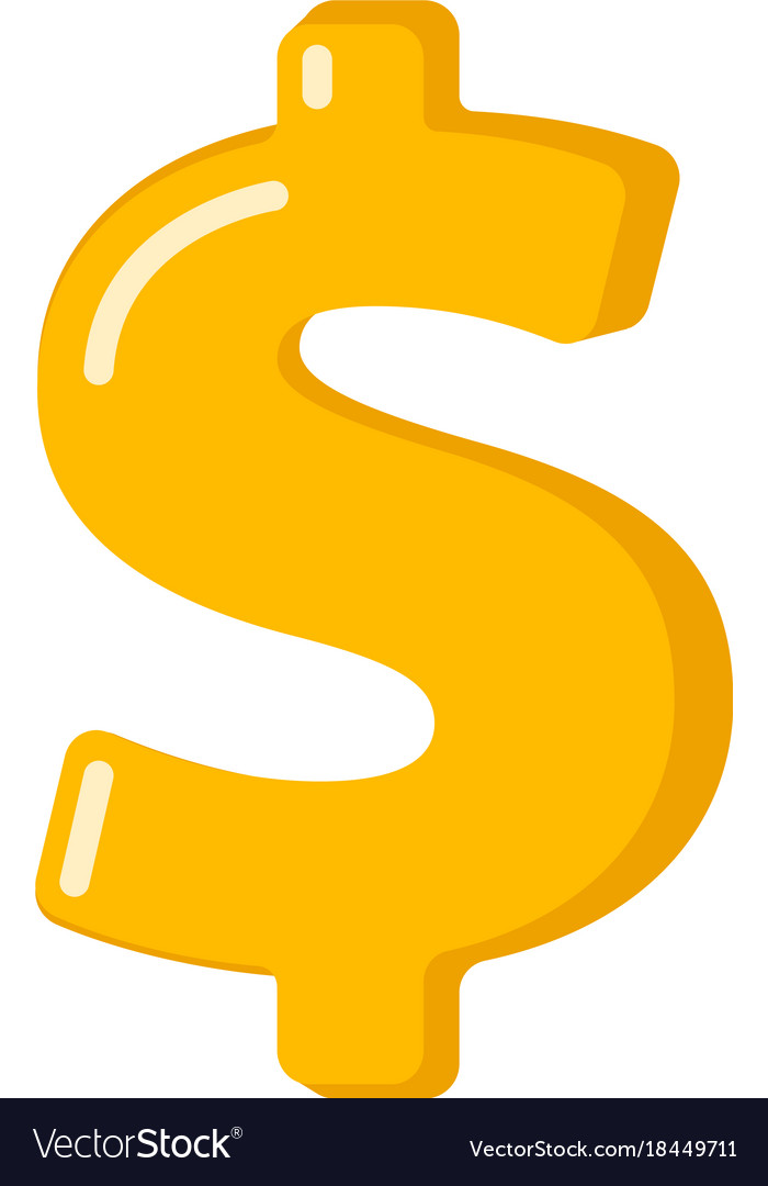 Golden dollar sign cartoon
