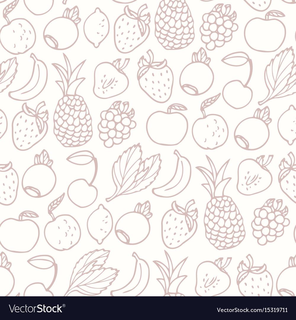 Hand drawn cartoon fruits seamless pattern vector image