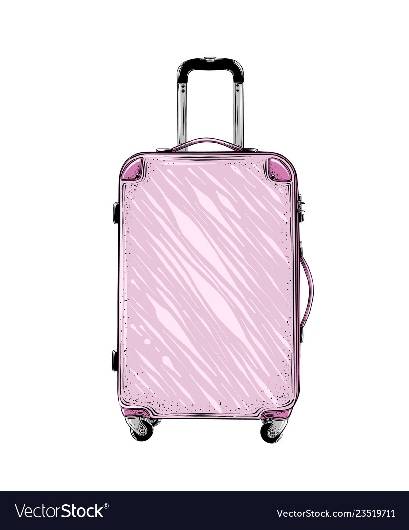 Hand drawn sketch suitcase in pink color