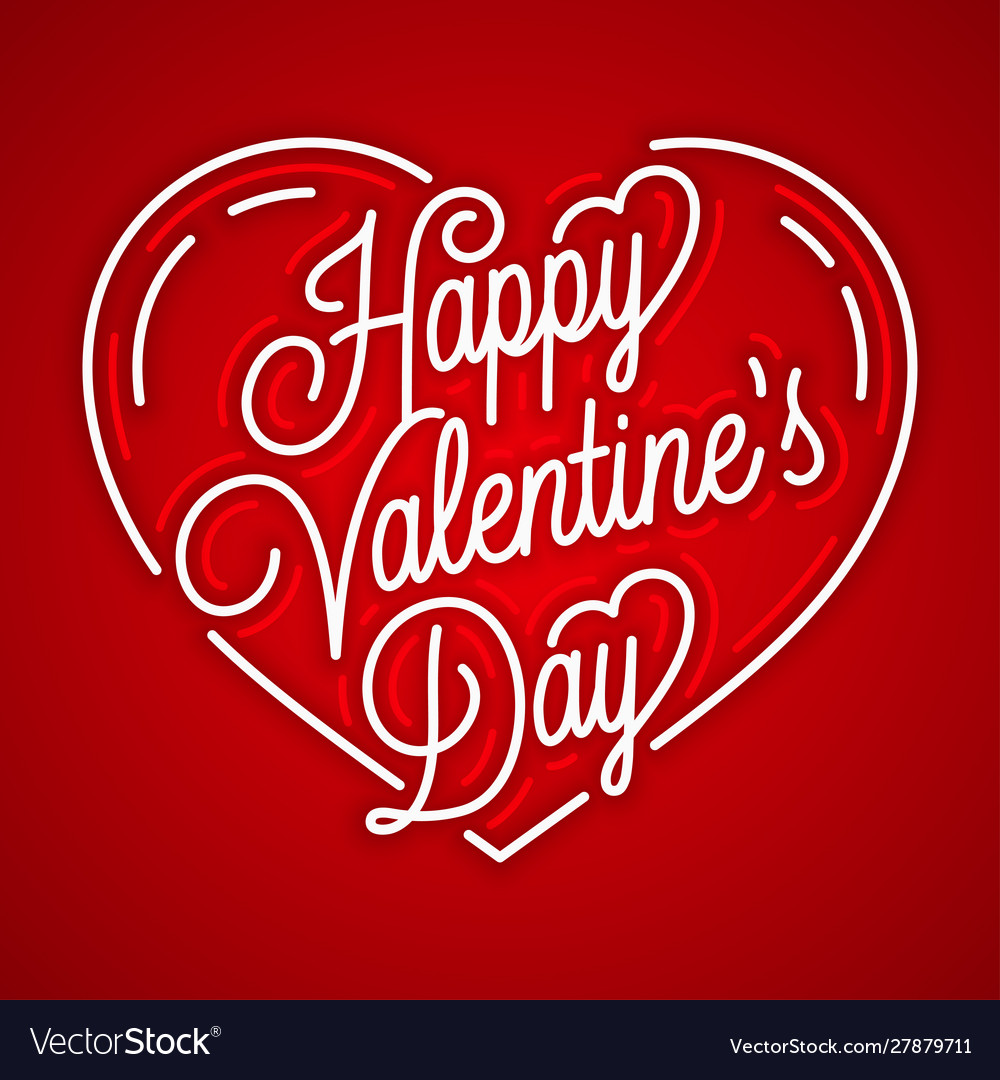 Happy valentines day vintage linear on red