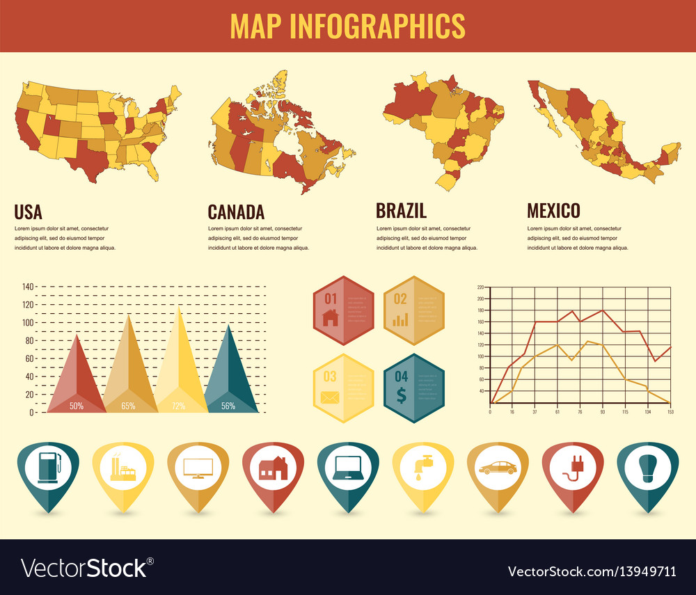 Infographics elements set with collection maps of