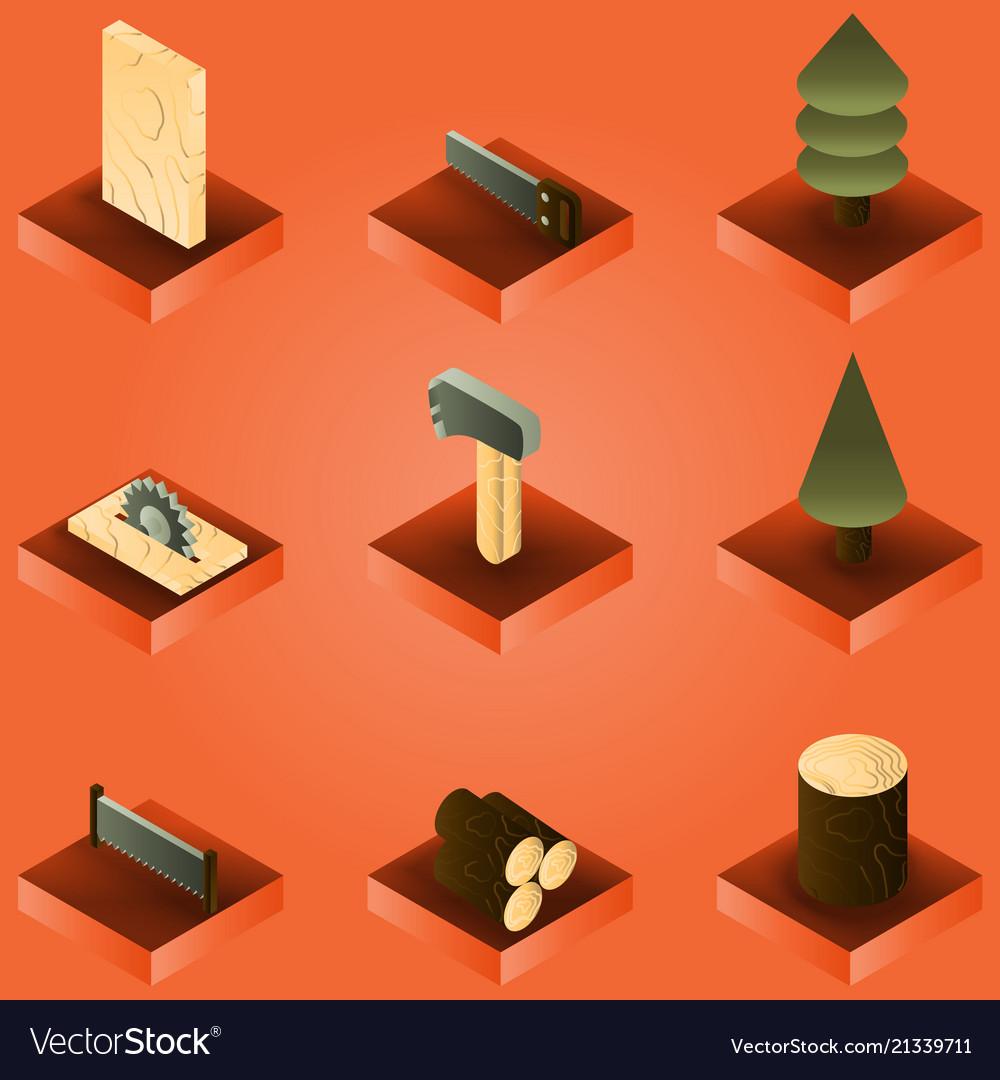 Lumberjack color gradient isometric set