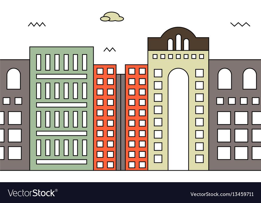 Modern street scenery in flat design style