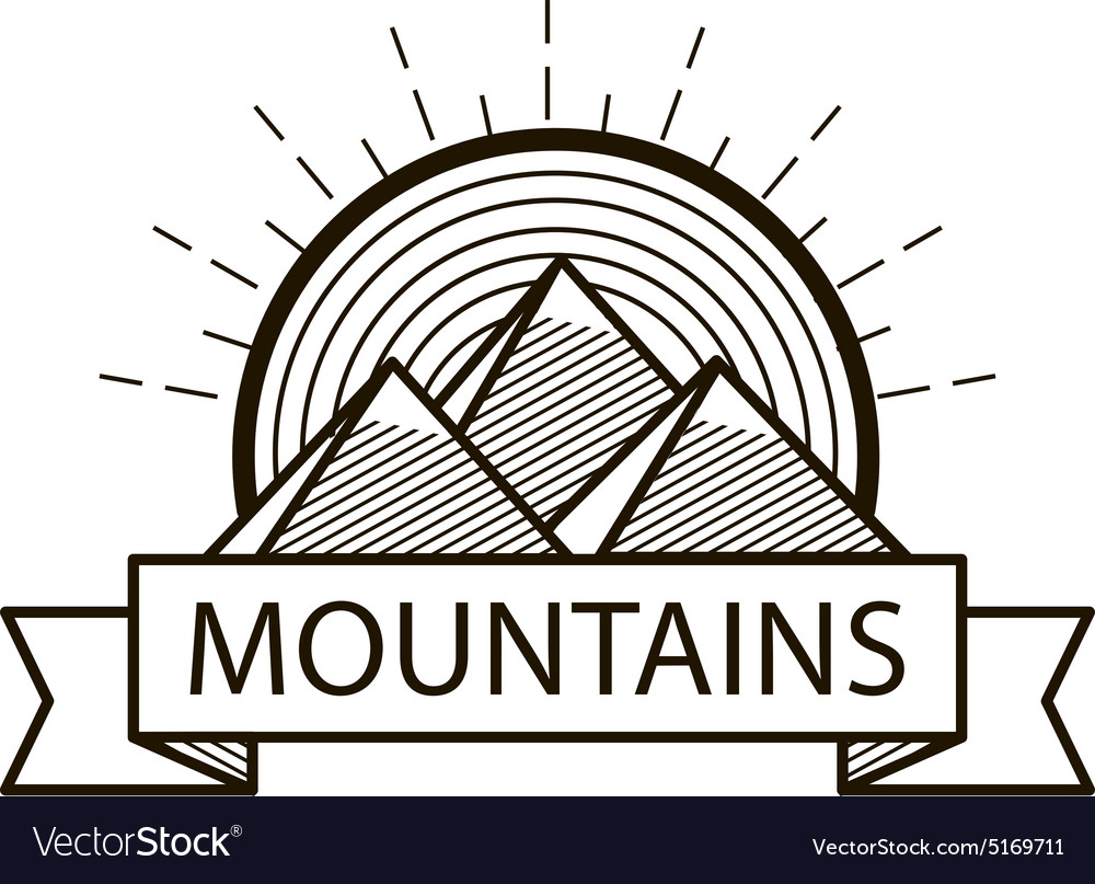 Mountains line hipster logo icon badge