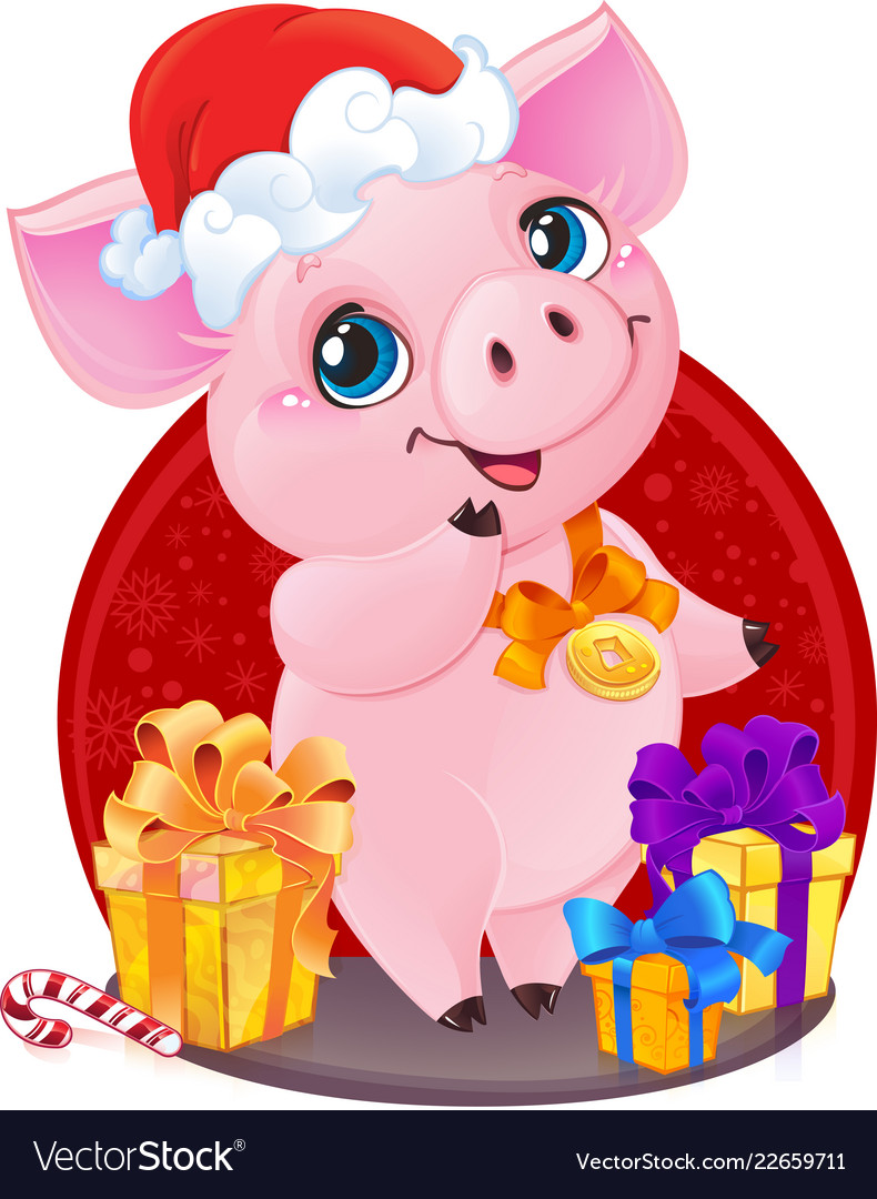 Piglet with christmas gifts for the new year 2019 Vector Image
