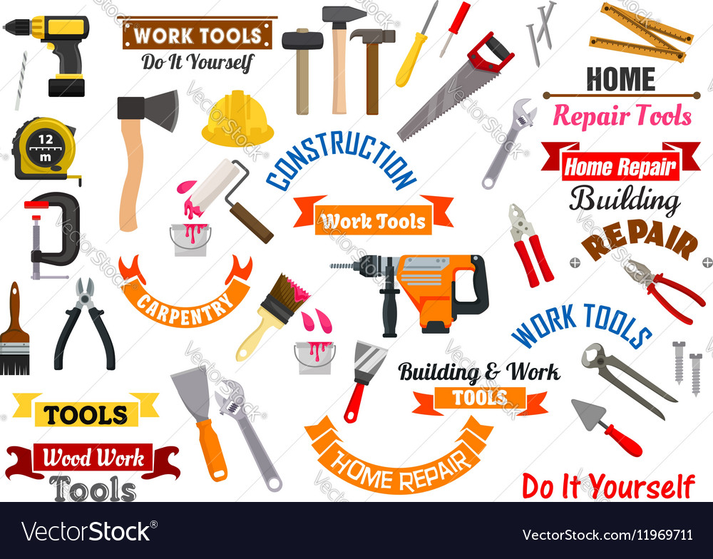 Work tools icons Repair construction signs set