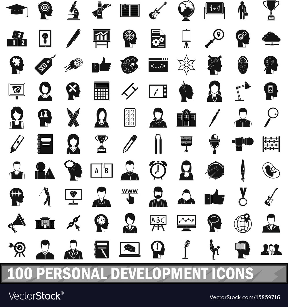 100 personal development icons set simple style
