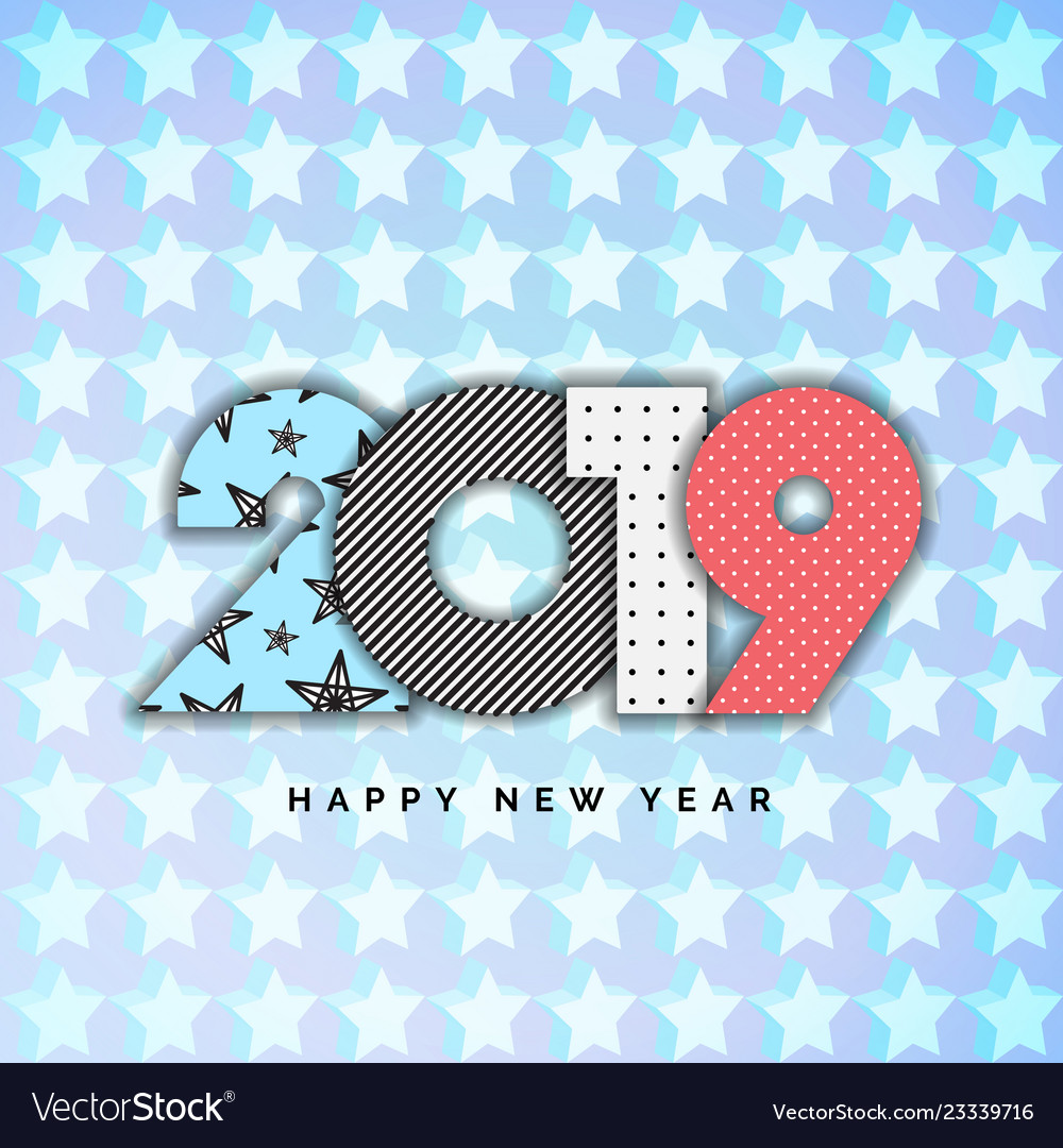 2019 happy new year numbers for design