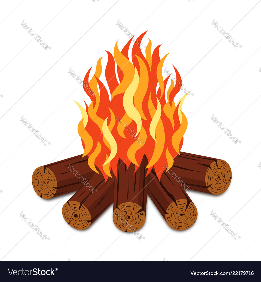 Campfire with firewood and flame torch in cartoon