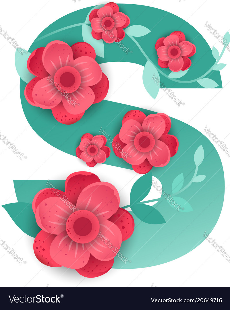 Color letter s with beautiful flowers royalty free vector color letter s with beautiful flowers vector image izmirmasajfo