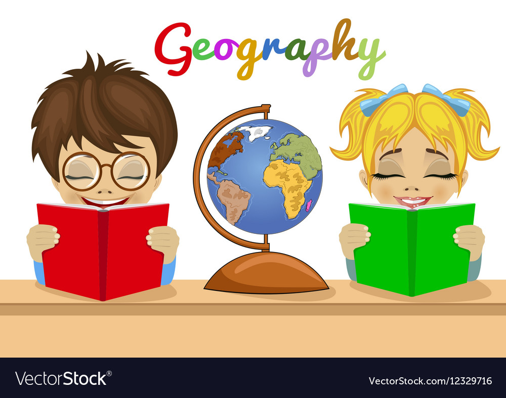 Kids studying geography together reading books