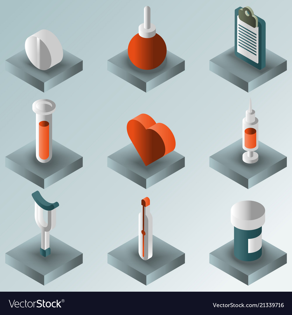 Medical color gradient isometric set