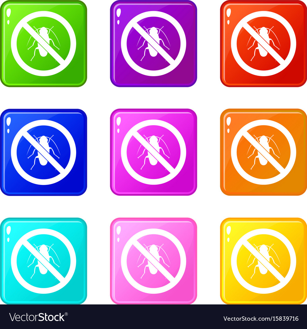 No cockroach sign icons 9 set vector image