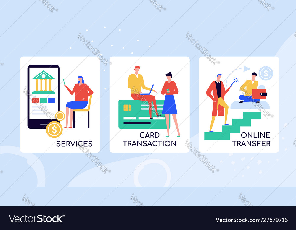 Online banking services colorful banner