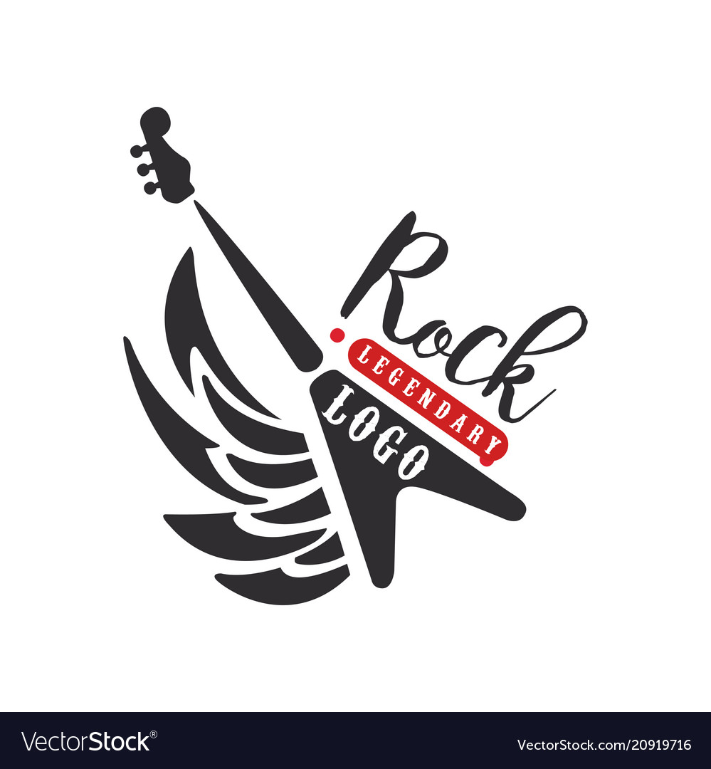 Rock logo black and red emblem for rock club or vector image