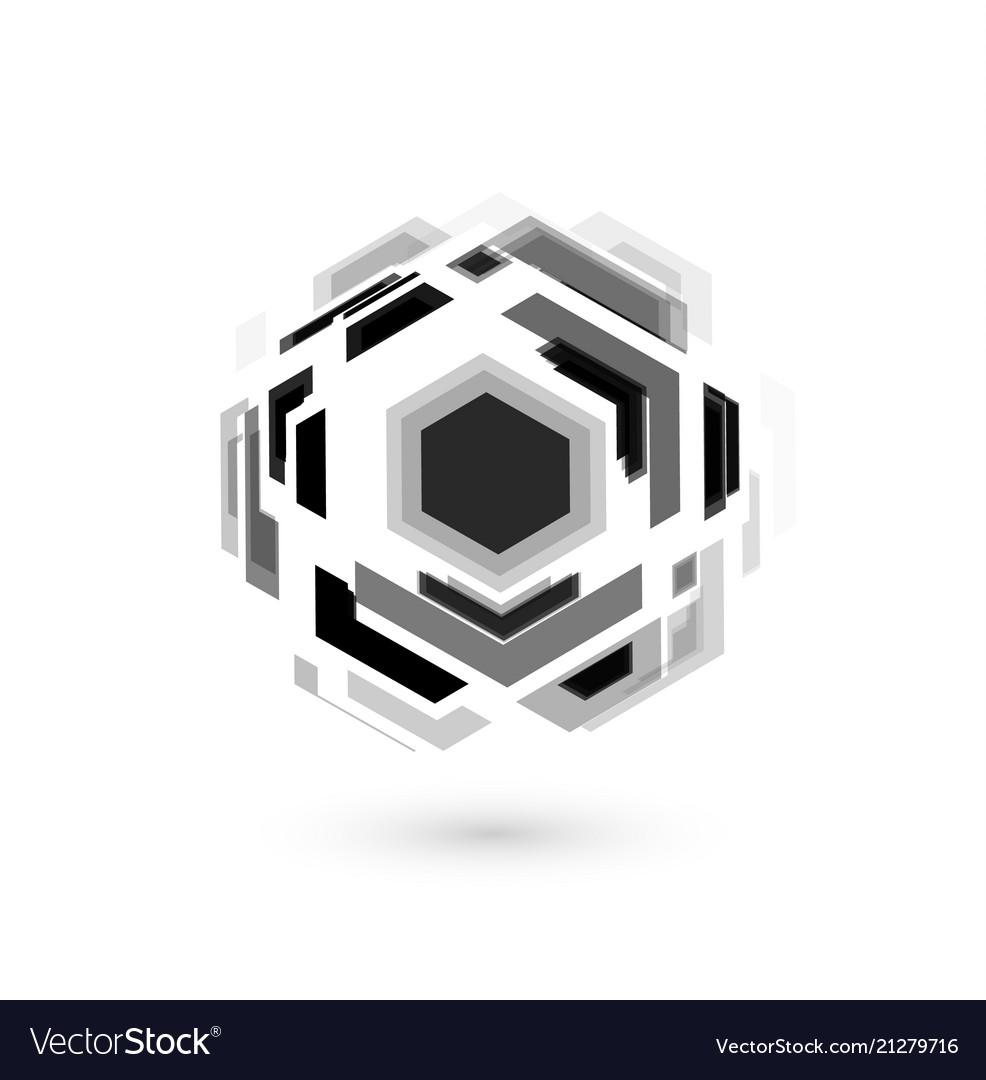 Soccer ball unusual design abstract hexagona