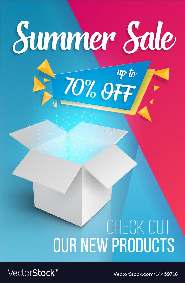 Summer sale banner open box