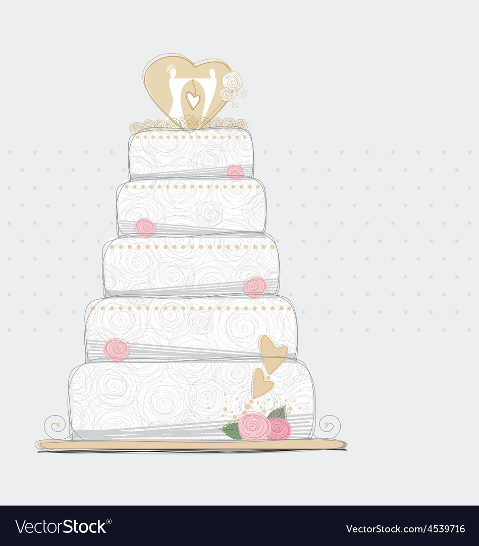 Wedding cake design vector image on VectorStock