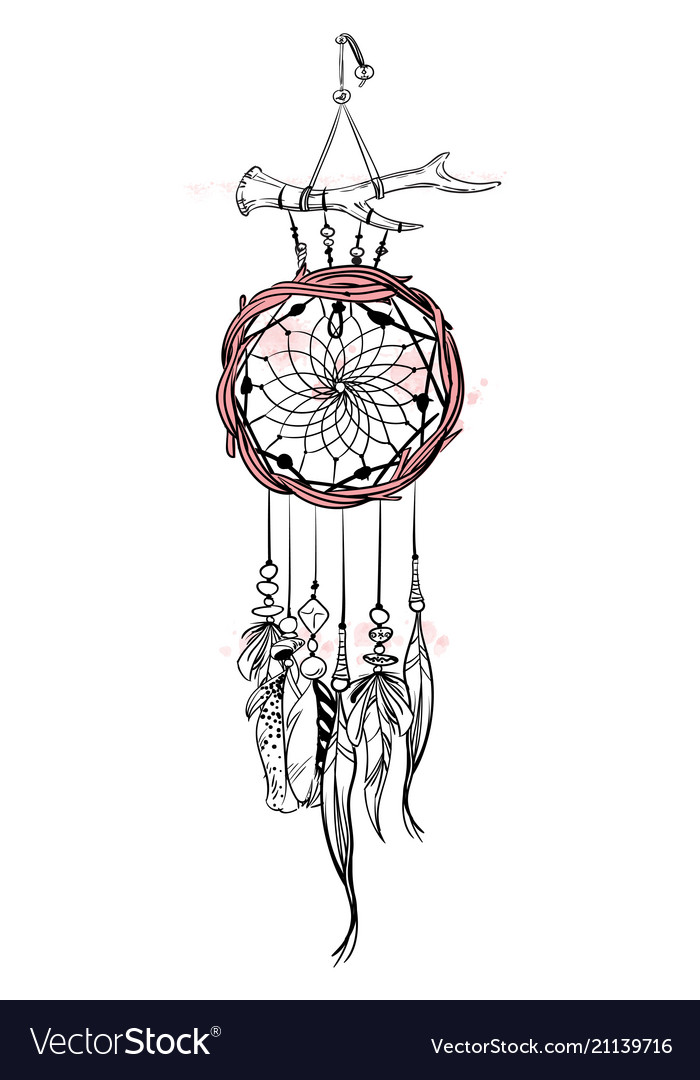 With Hand Drawn Dream Catcher Royalty Free Vector Image Awesome Drawn Dream Catchers