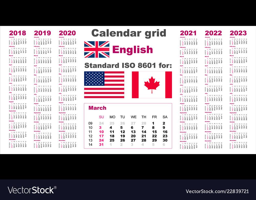 American calendar standard us english language