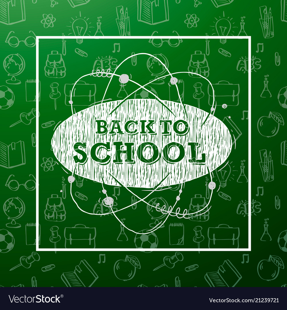 Back to school banner with texture line art icons