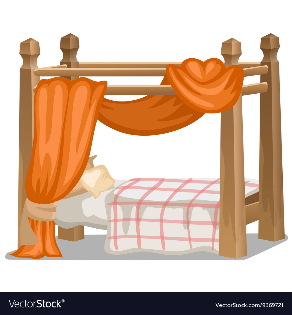 Bed with orange canopy Interior items isolated
