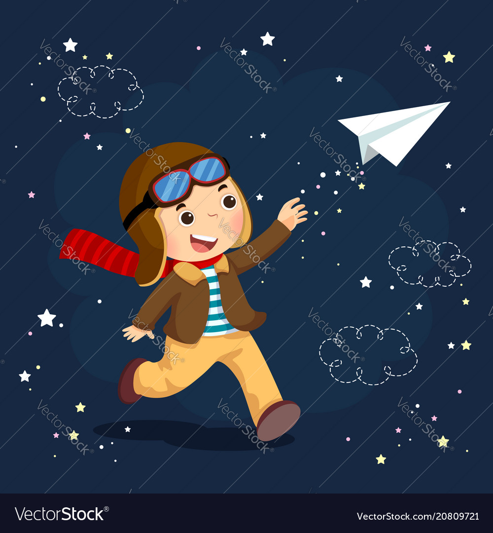 Boy wearing helmet and flying a paper plane