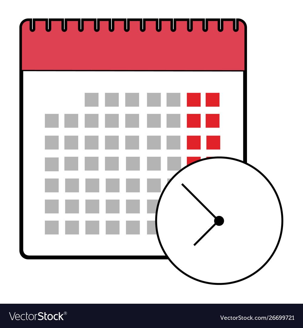 Calendar clock icon flat design isolated schedule