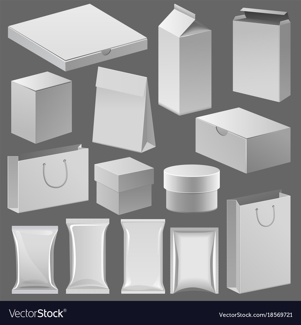 Cardboard paper shop box and empty pack template vector image
