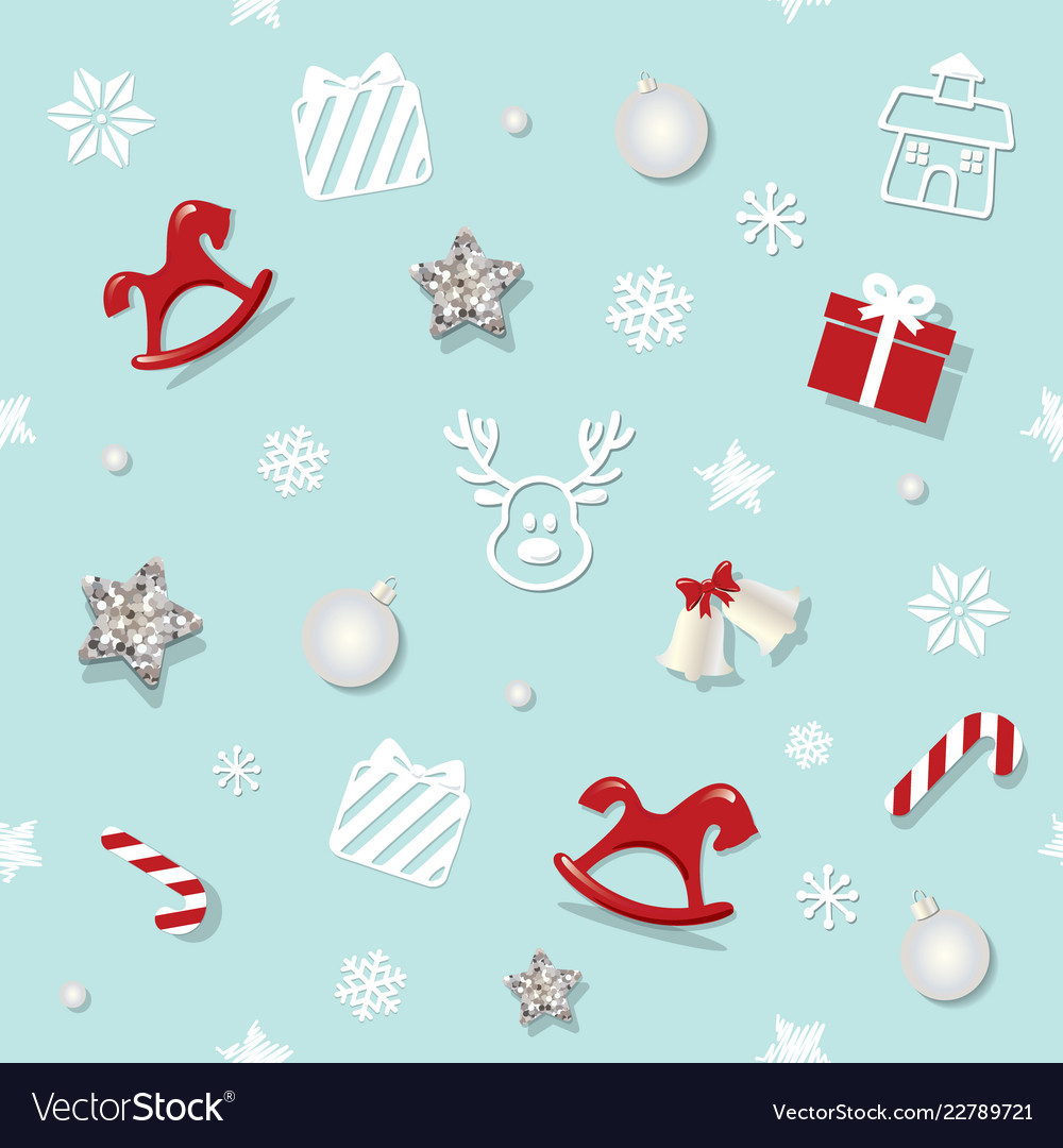 Christmas and new year seamless pattern background