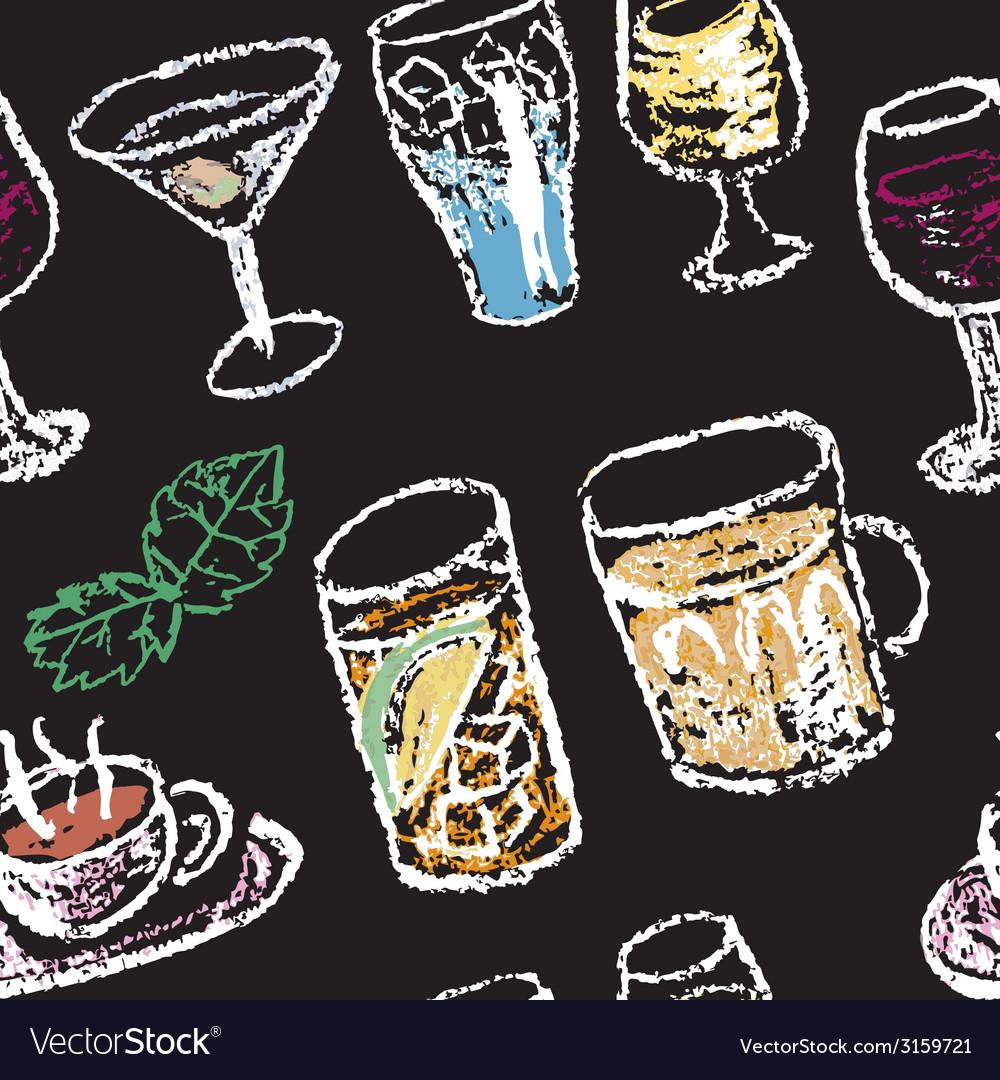 Hand drawn cocktail menu elements Seamless pattern