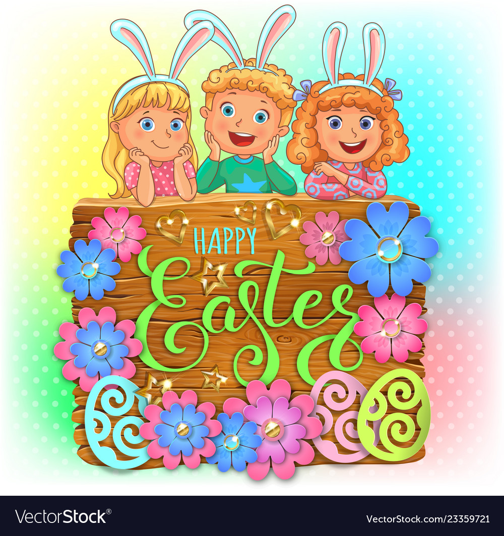Happy easter wooden banner with paper flowers and