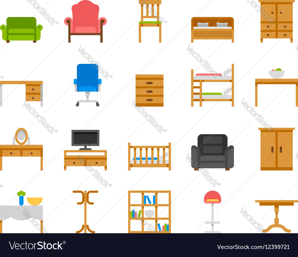 Home and office furniture interiors vector image