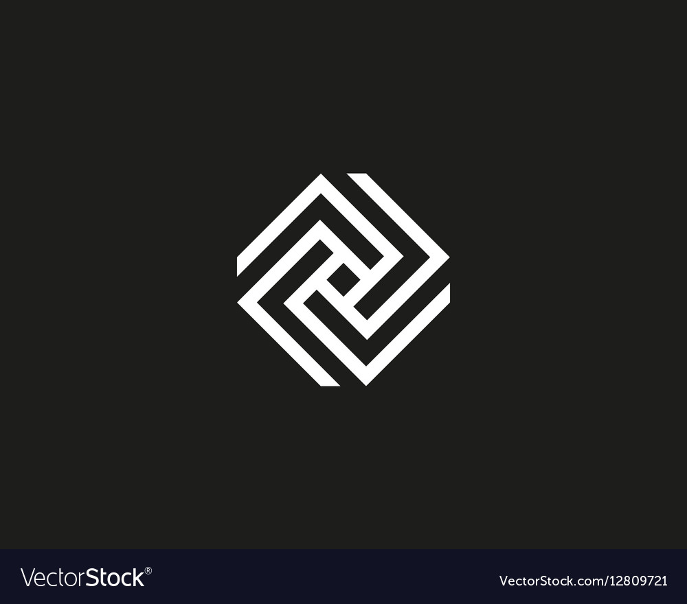Line Art Cube Logo Design Template Abstract