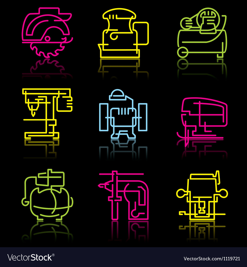 Line icons of power tools