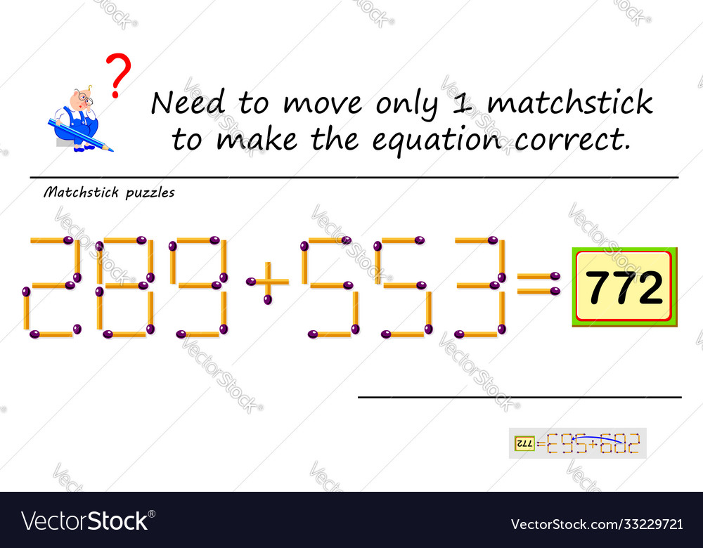 Logic puzzle game with matches need to move only