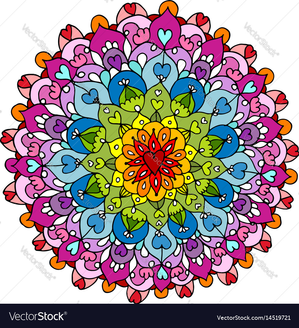 Mandala ornament colorful pattern for your design vector image