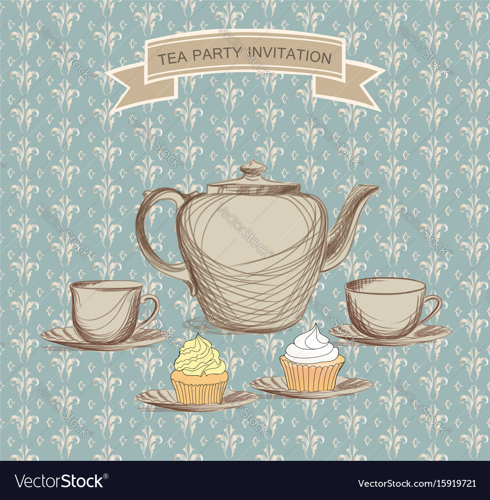 Tea cup kettle retro card tea time vintage vector image
