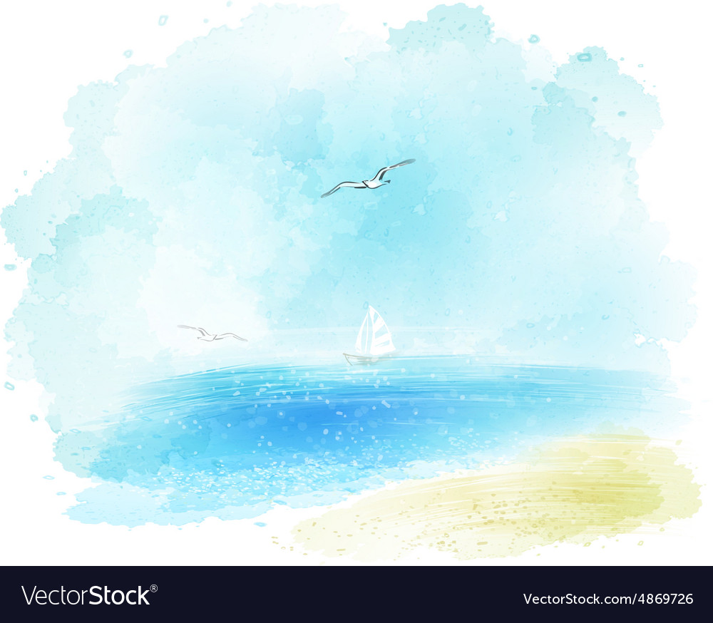 Background of a watercolor seascape