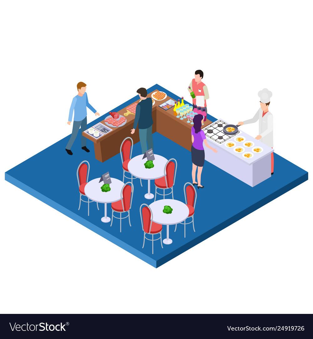 Buffet breakfast restaurant 3d isometric