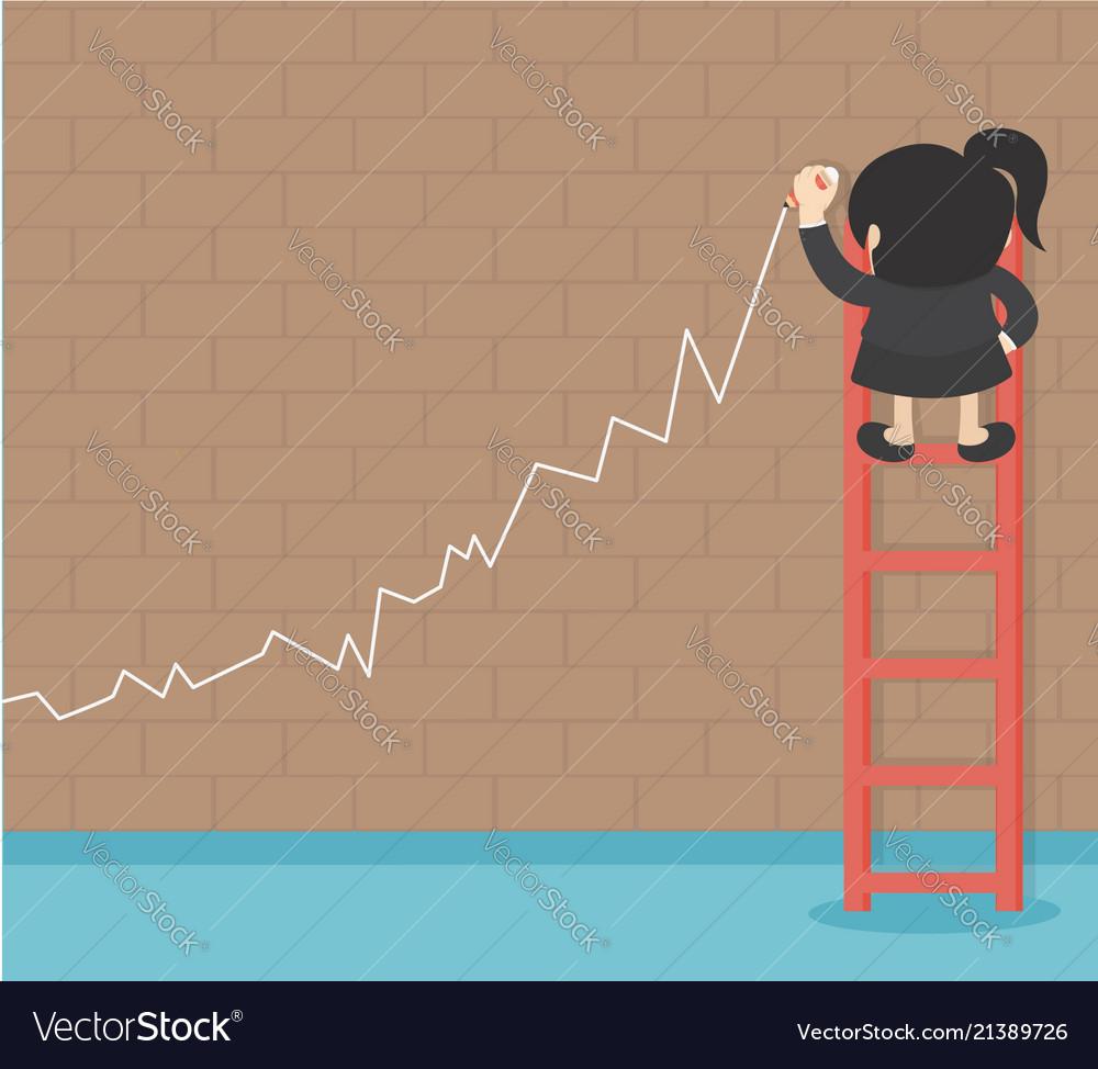 Business success growth chart business woman