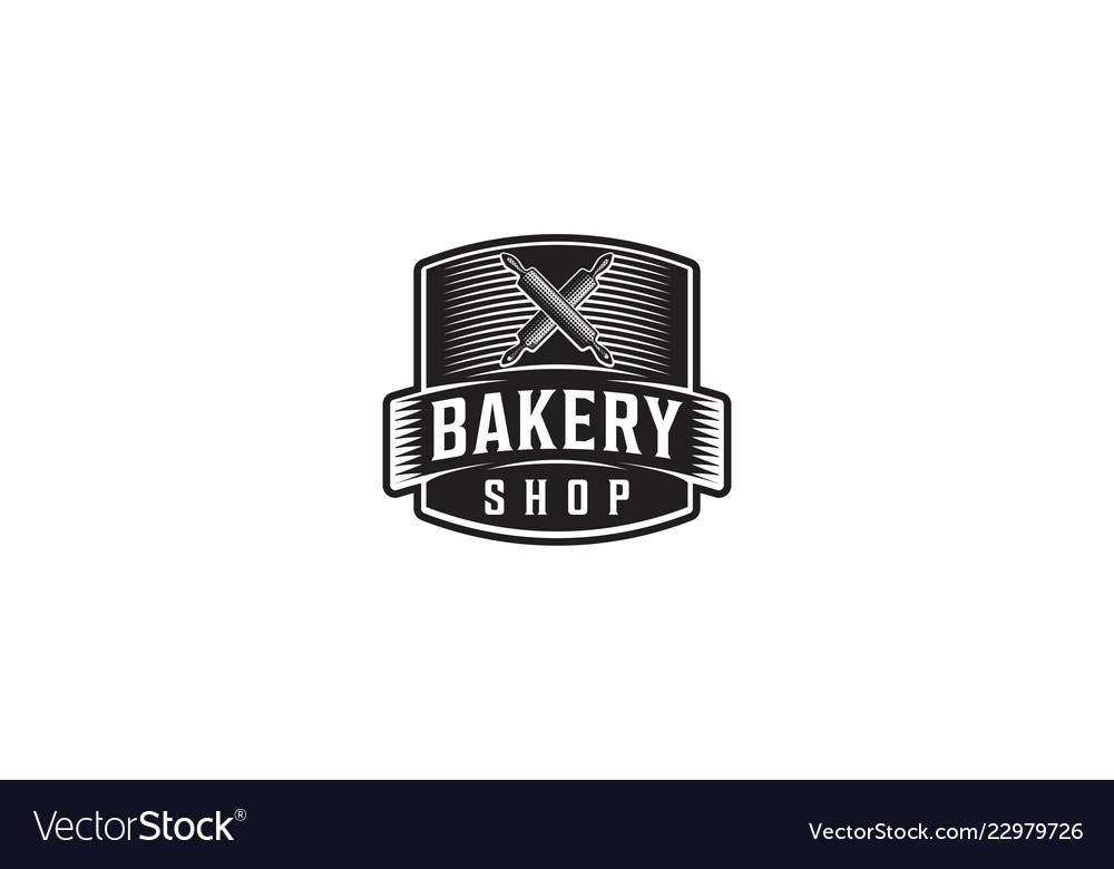 Crossed rolling pin vintage badge bakery shop