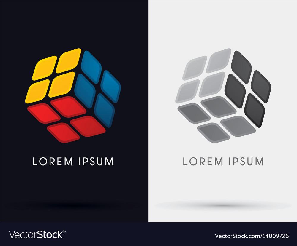Cube box sign vector image