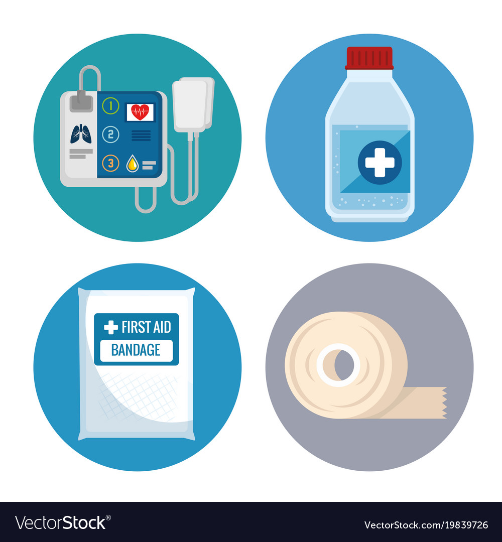 Emergency first aid icons Royalty Free Vector Image