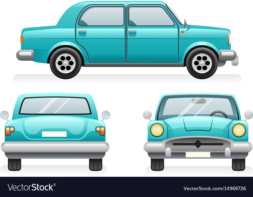 Front back side point view retro car icons set