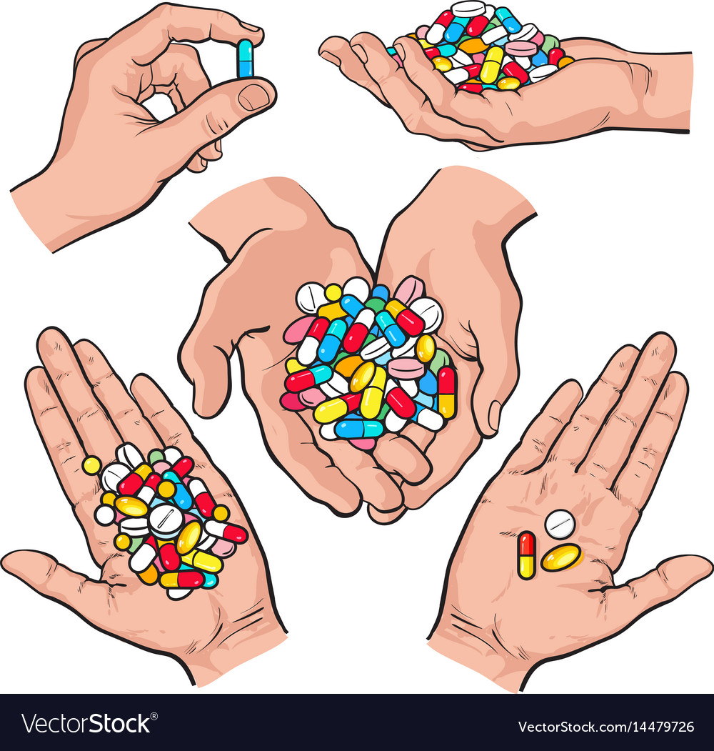 Hand drawn hands holding piles of colorful pills